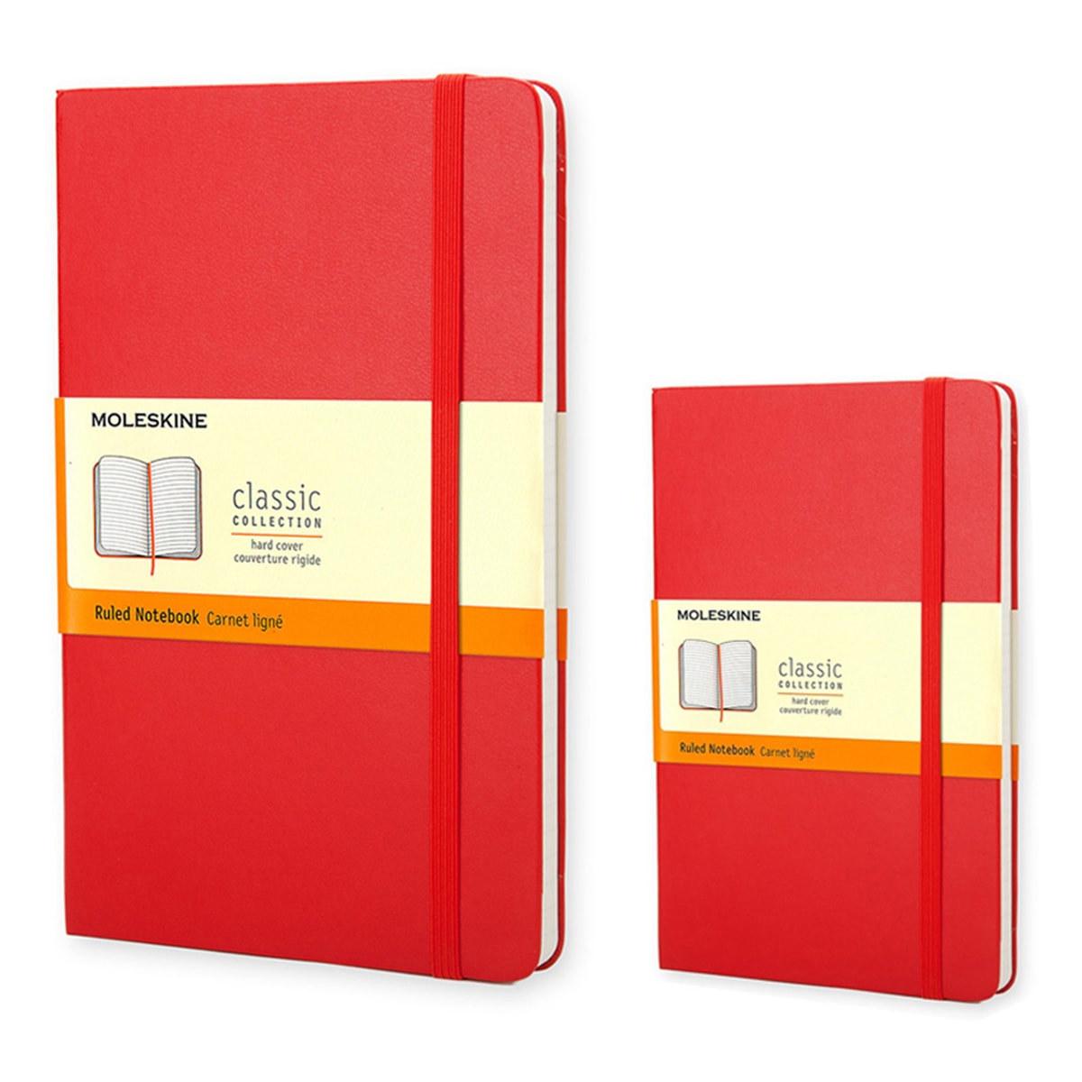 Moleskine 經典橫條筆記本(大型+口袋型) 紅2入