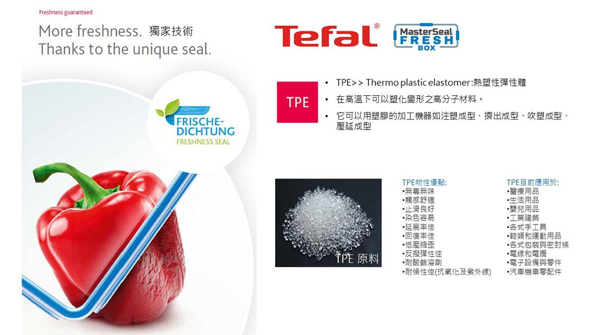 Tefal 法國特福 無縫膠圈塑膠保鮮盒,含蓋共12件組,TPE,獨家技術。
