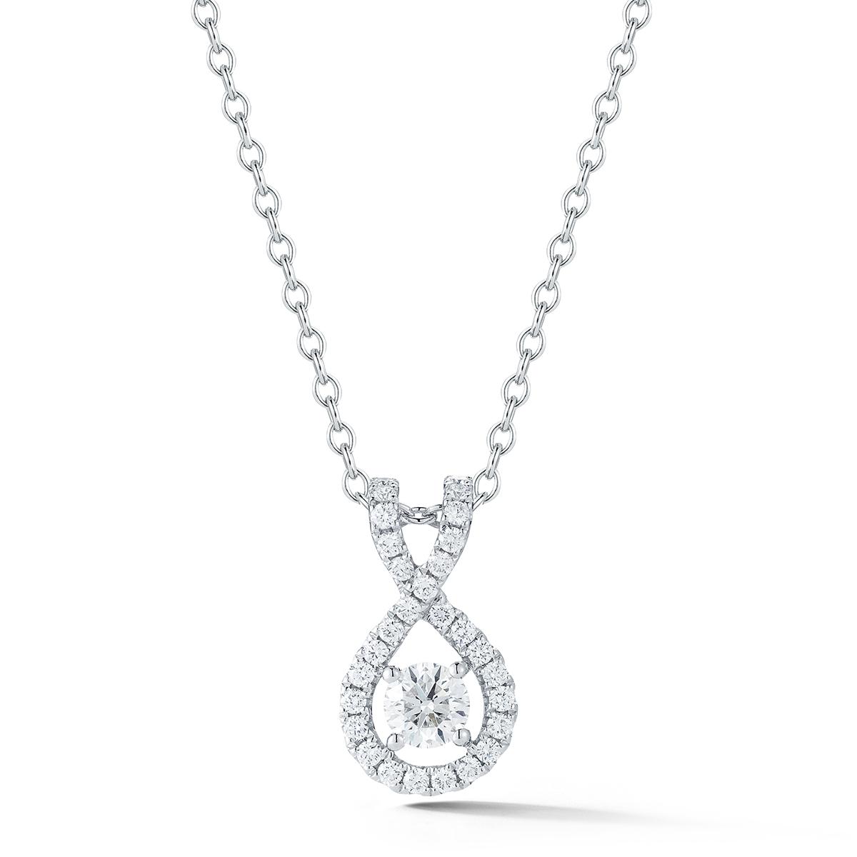 0.55克拉14K白K金鑽石項鍊