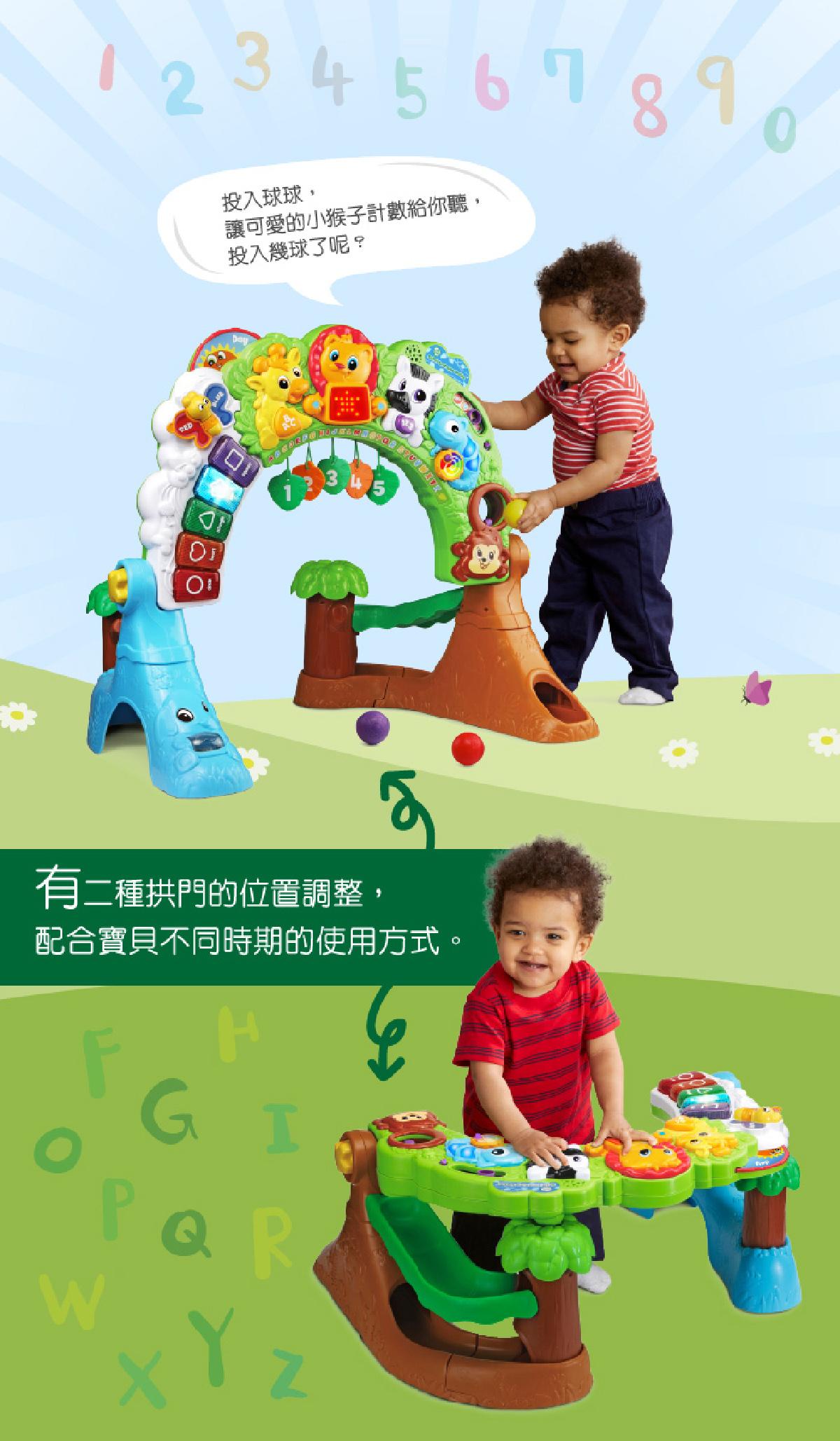 森林動物探險健力架,投入球球,讓可愛的小猴子計數給你聽,有兩種拱門的位置調整,配合寶貝不同時期的使用方式。