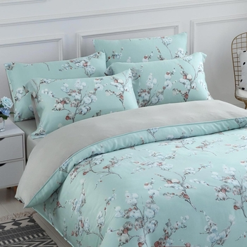 Don Home TW King Size 300 Thread Count Tencel Quilted Duvet 6 Piece Set - Palegreen flora