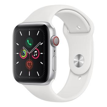 Apple Watch Series 5 (GPS + 行動網路),44 公釐銀色鋁金屬錶殼搭配白色運動型錶環 Apple Watch Series 5 (GPS + Cellular), 44mm ..