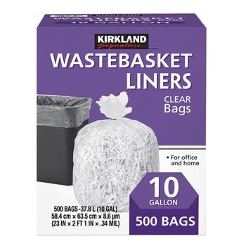 Kirkland Signature 科克蘭 垃圾袋 37.8公升 (58.4 x 63.5cm) 500入 Kirkland Signature Wastebasket Liners Trash Bags 37.8L (58.4 X 63.5Cm) 500 Count-Costco