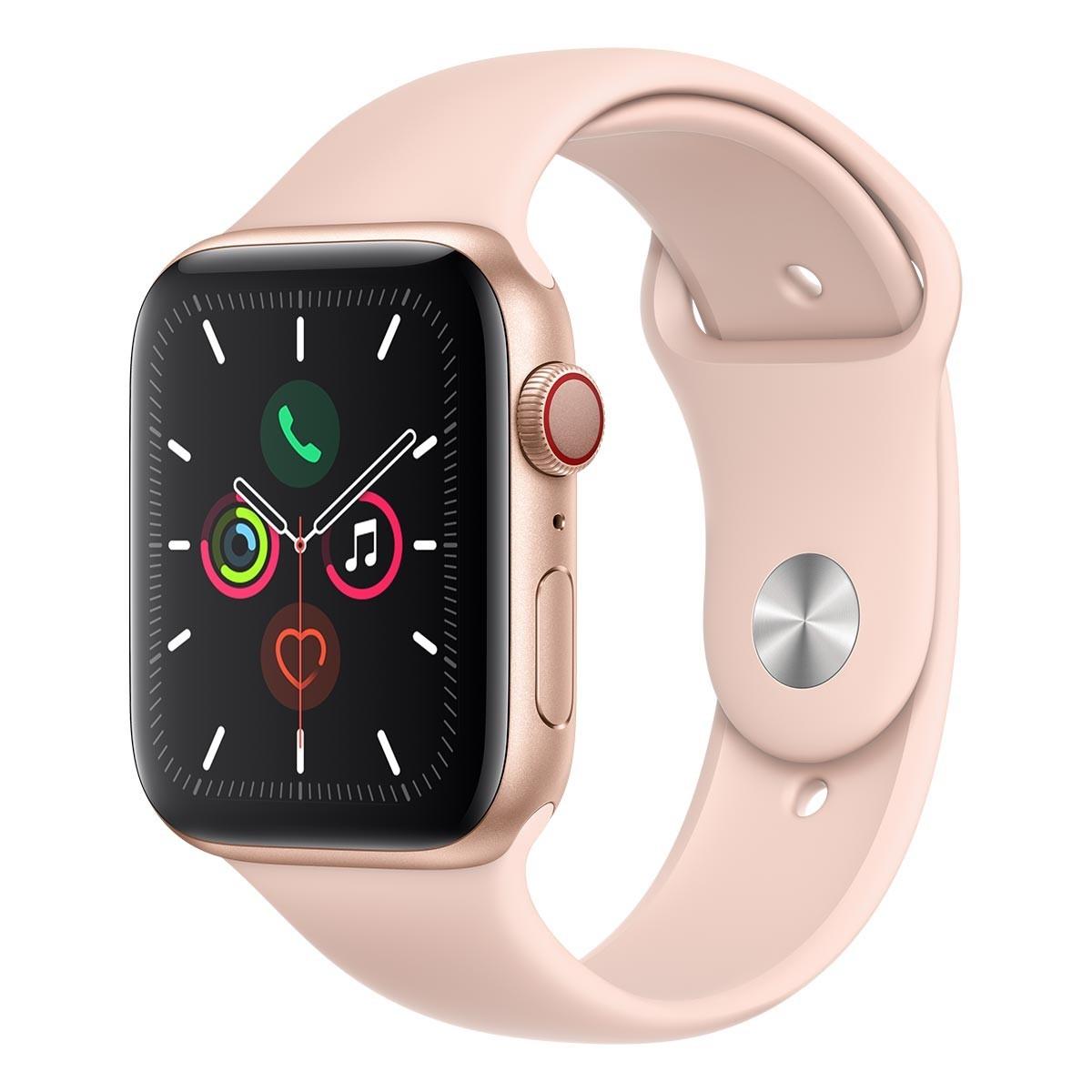 Apple Watch Series 5 (GPS + 行動網路),44 公釐金色鋁金屬錶殼搭配粉色運動型錶環