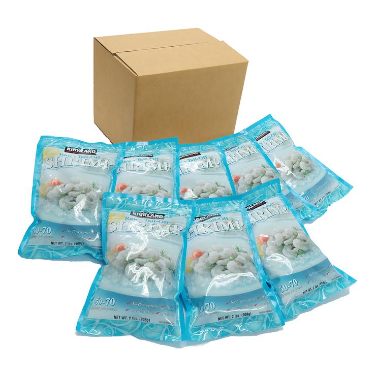 Kirkland Signature 科克蘭 冷凍養殖大生蝦仁 908公克 X 8包 - 50-70隻/磅 | Costco 好市多線上購物