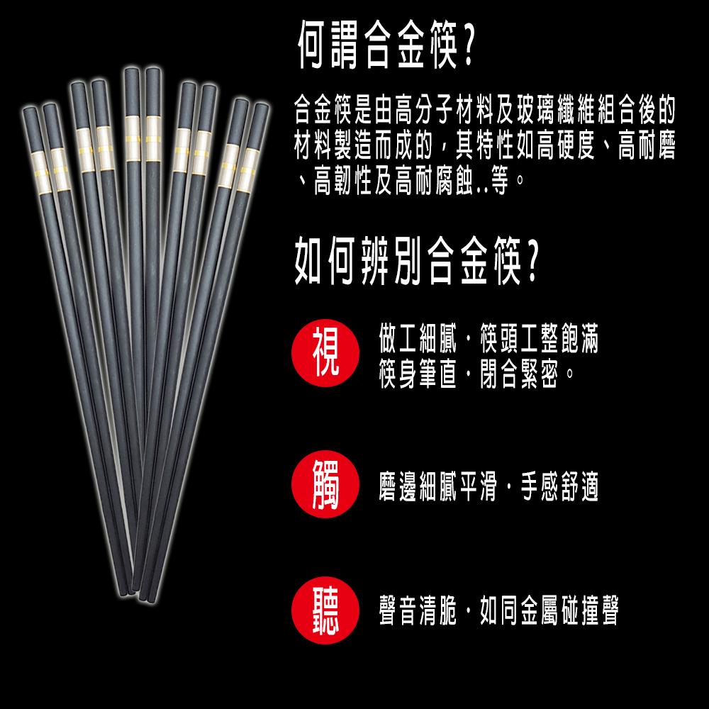 金緻典雅合金筷共12雙入,合金筷分辨介紹。