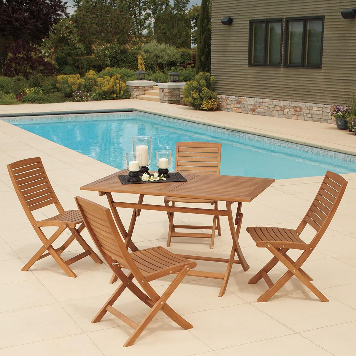 尤加利木製餐桌椅 5 件組
