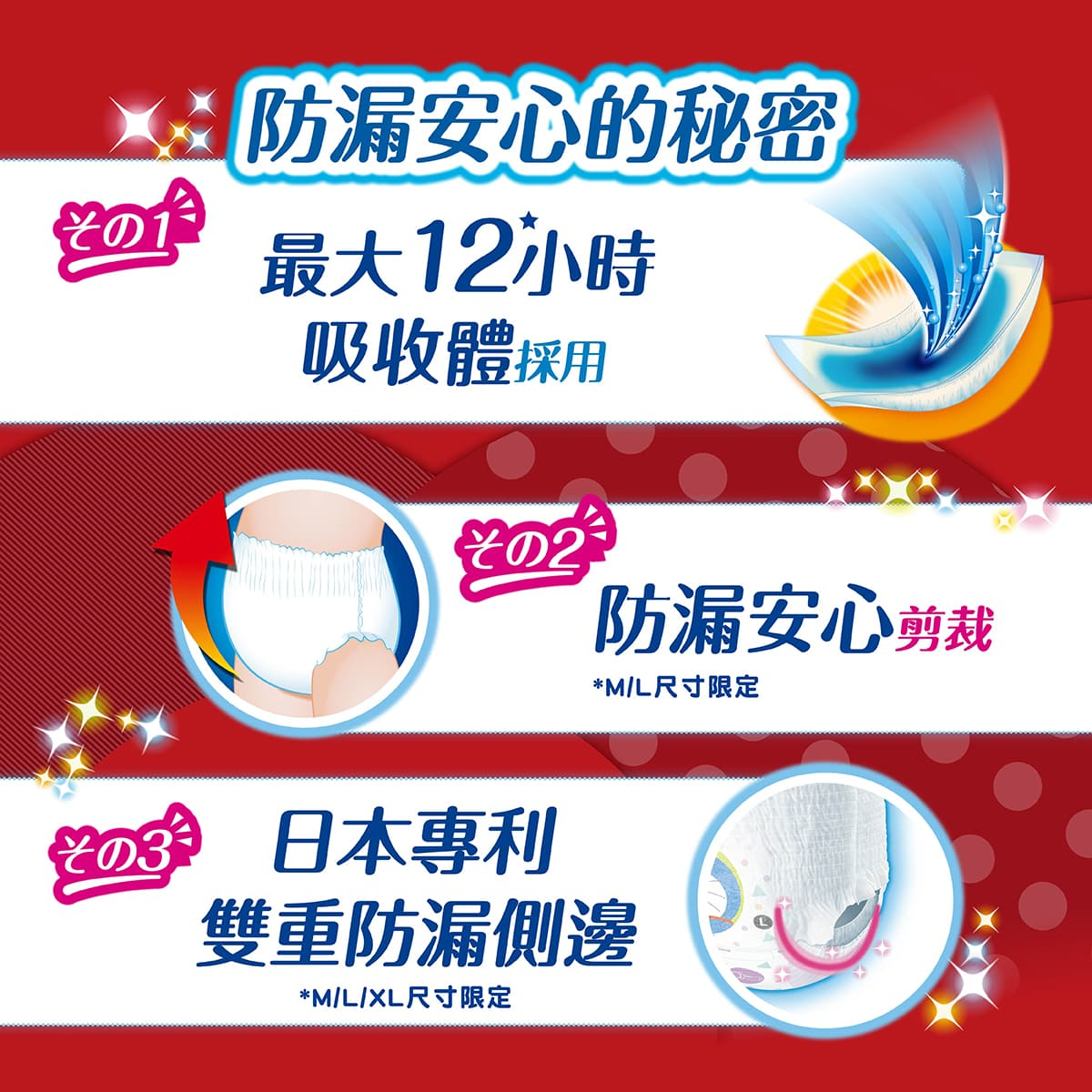 日本開發滿意寶寶輕巧褲多啦A夢版,12小時安心吸收,防漏超舒適。