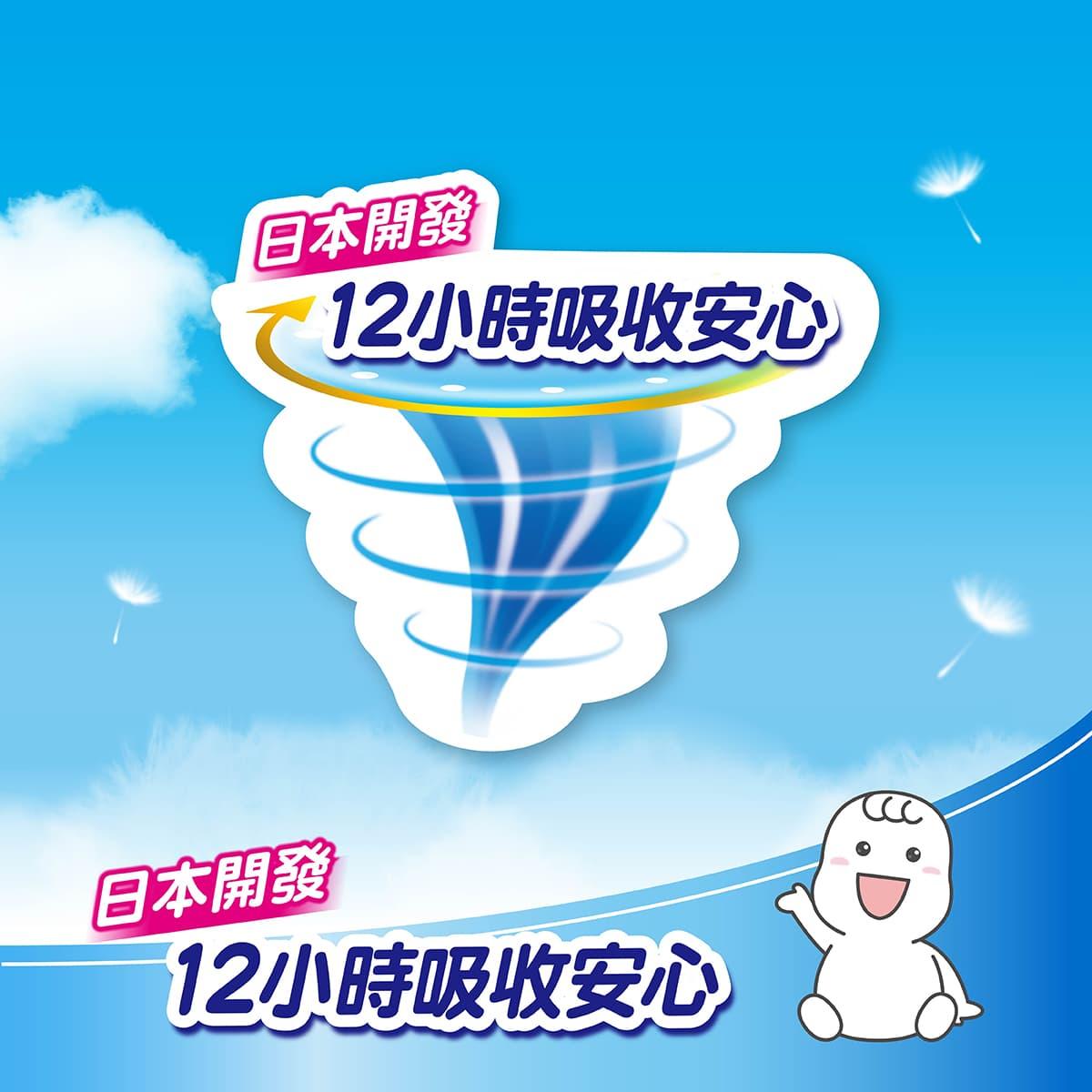 日本滿意寶寶瞬潔乾爽尿布 12小時安心吸收,防漏超舒適。