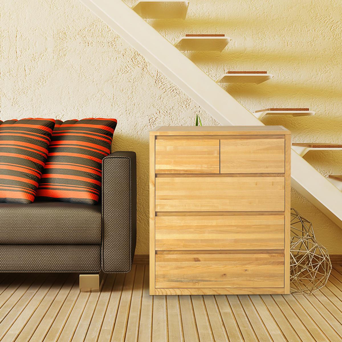 Uwood 優渥實木梣木系列五斗收納櫃