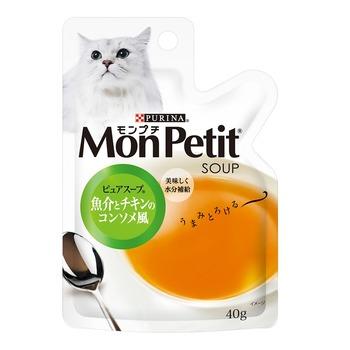 Mon Petit 貓倍麗 雞肉海鮮燉湯(純湯)貓調理包 40公克 X 12入 Mon Petit Seafood & Chicken Pure Cat Soup Pouch 40g X 12 Cou..