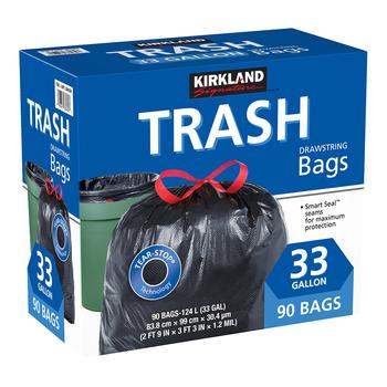 Kirkland Signature 科克蘭 特大強力垃圾袋 124公升X 90入 Kirkland Signature Drawstring Trash Bags 33 Gallon X 90 Co..