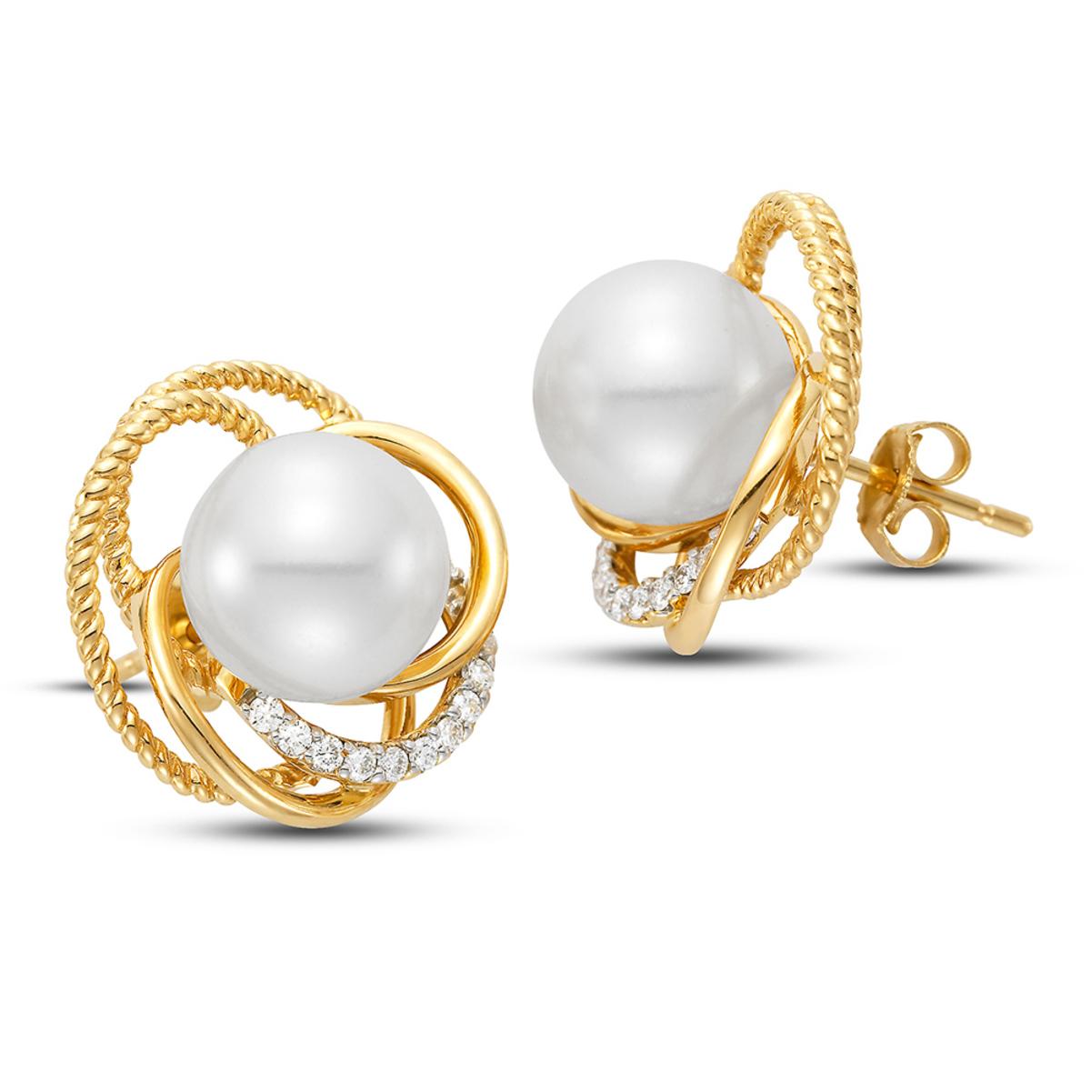 珍珠鑽石耳環