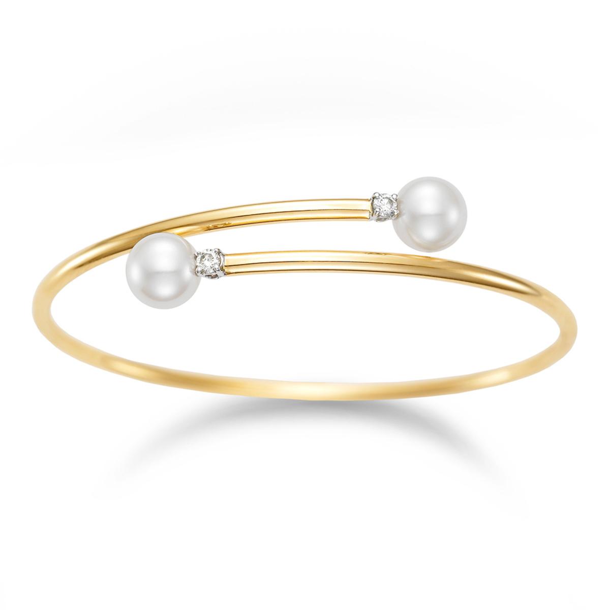 8.5-9.0mm淡水養珠珍珠0.16克拉鑽石手環, 18K黃金