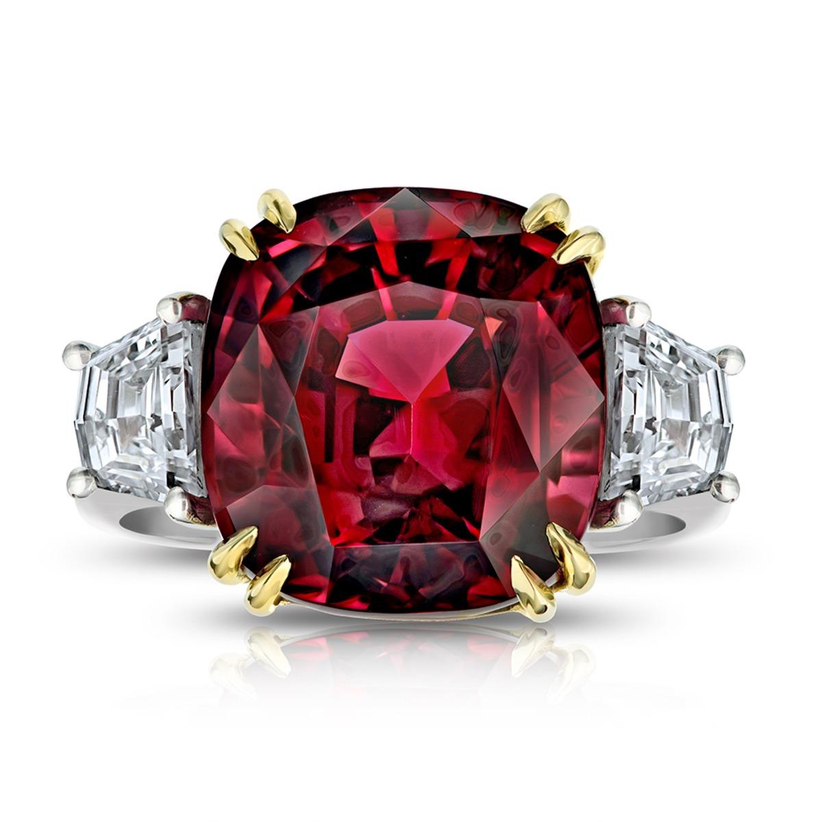 18.37 克拉紅尖晶石 1.35 克拉鑽石鉑金戒指