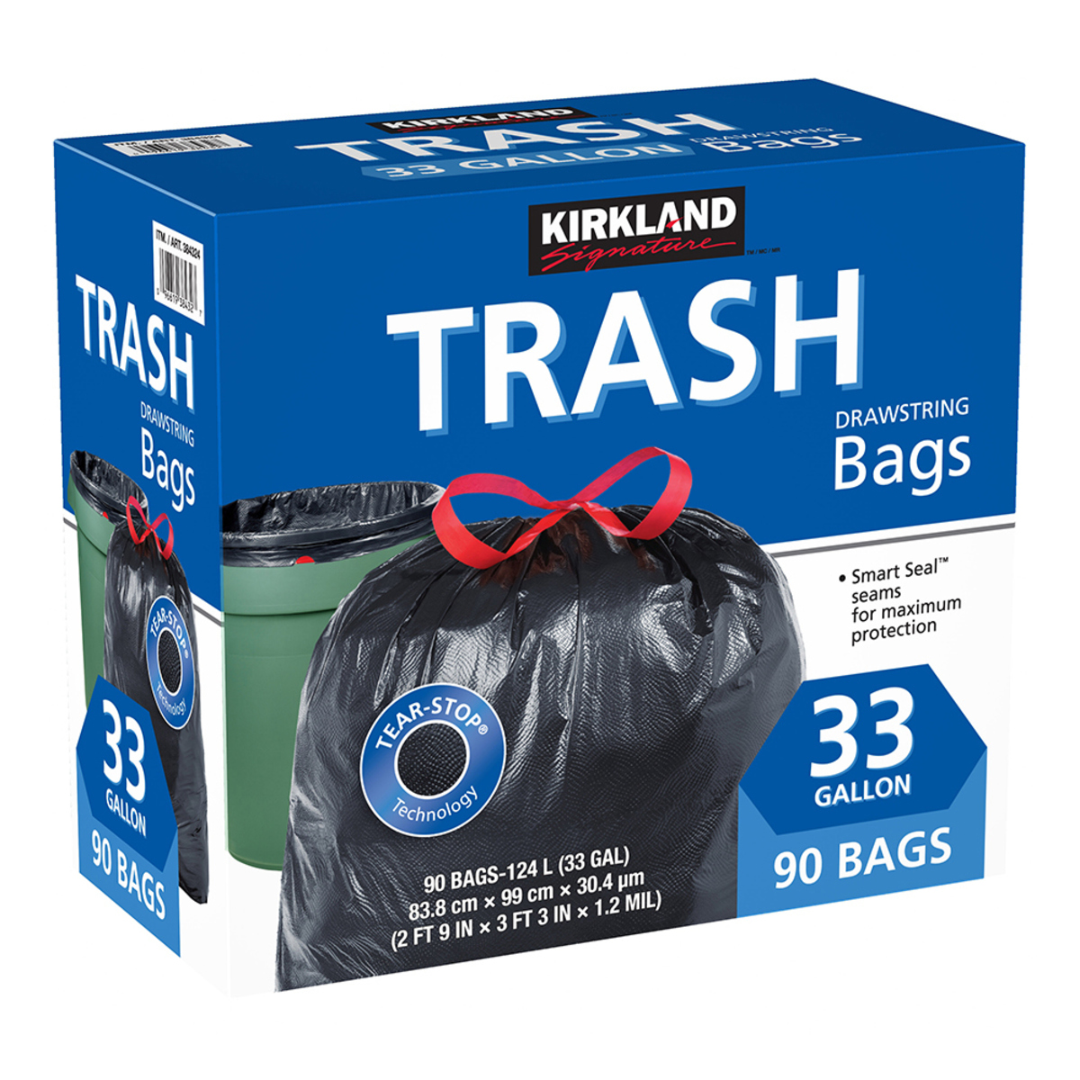 Kirkland Signature 科克蘭 特大強力垃圾袋 124公升 (83.8 x 99cm) 90入